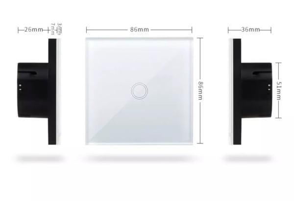 Intrerupator triplu wireless RF cu touch, panou de sticla, Sesoo 6