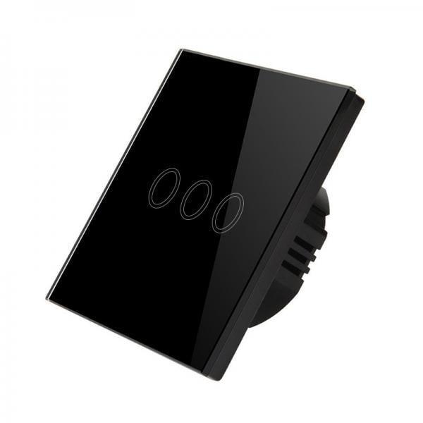 Intrerupator wireless RF triplu cu touch, panou de sticla 3