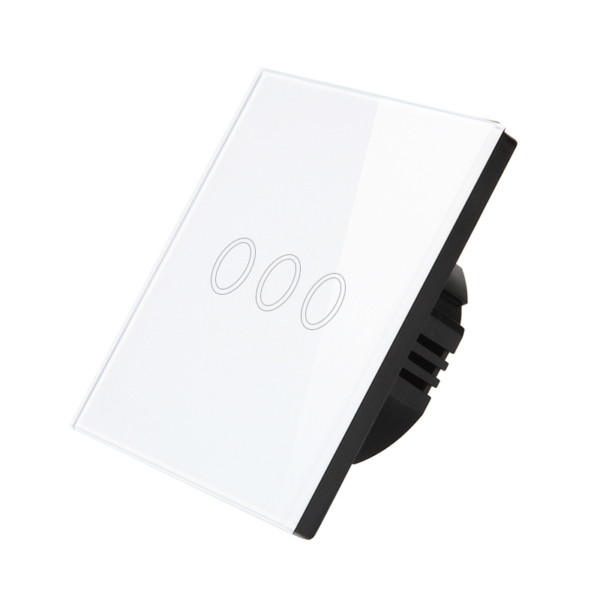 Intrerupator inteligent triplu cu touch, WiFi si panou tactil din sticla 2