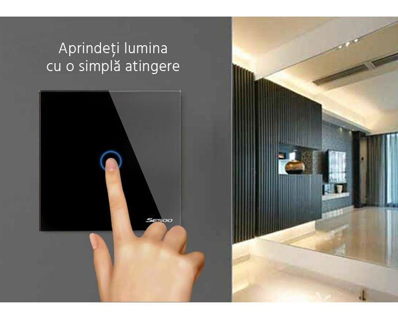 Intrerupator wireless RF triplu cu touch, panou de sticla 26