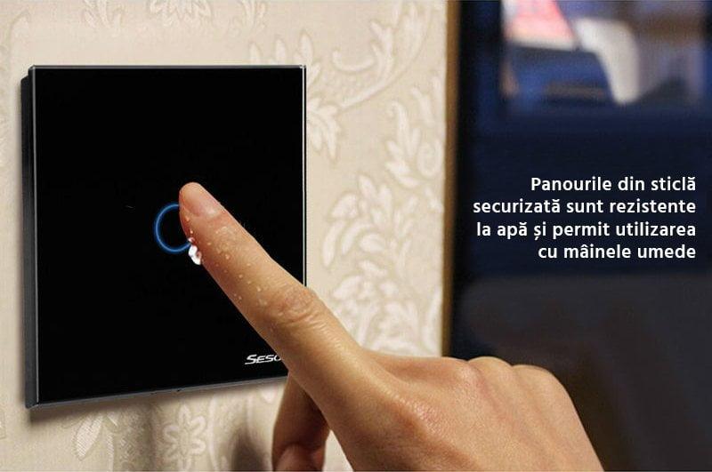 Intrerupator triplu RF cu touch, panou de sticla si telecomanda, Sesoo 24
