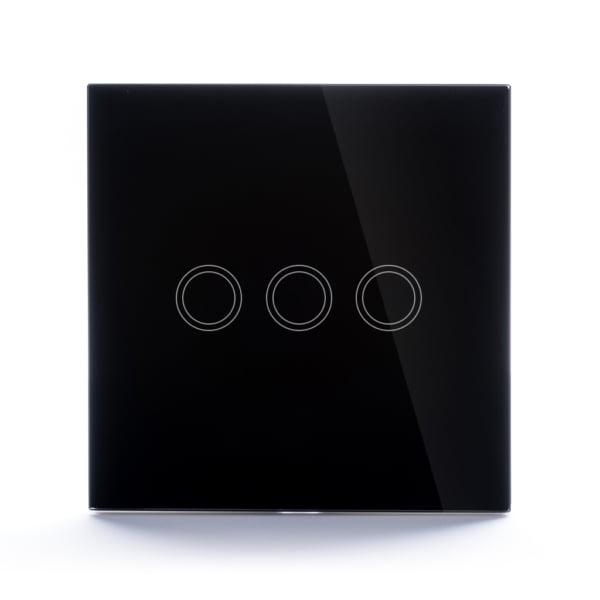 Intrerupator wireless RF triplu cu touch, panou de sticla 6