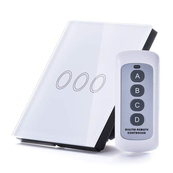 Intrerupator RF triplu cu touch, panou de sticla si telecomanda 5