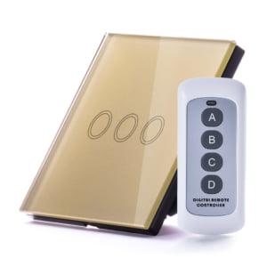 Intrerupator RF triplu cu touch, panou de sticla si telecomanda 3