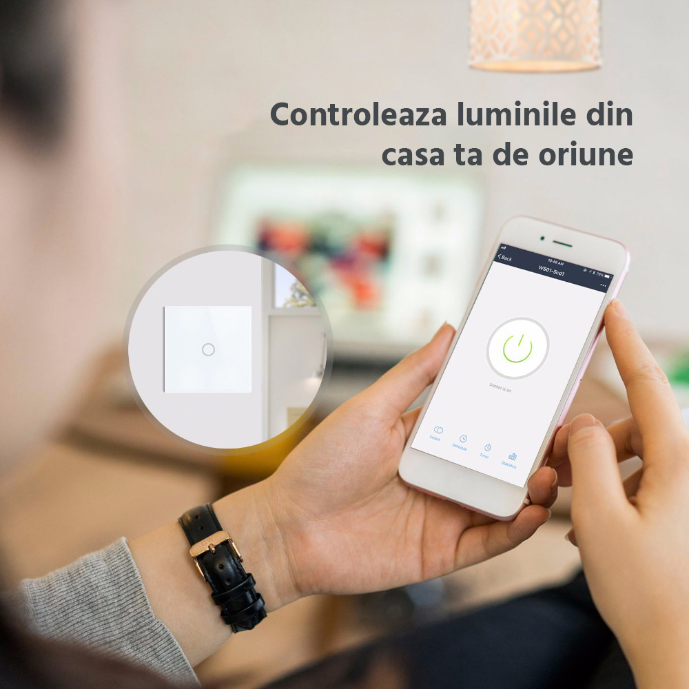 Intrerupator inteligent cu touch, Wi-Fi si panou tactil din sticla Smart Home 26
