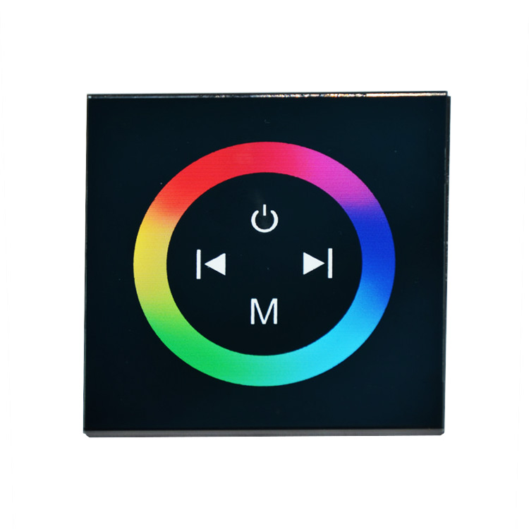 Controler Touch RGB pentru banda LED, de perete, cu panou de sticla tactil, Negru