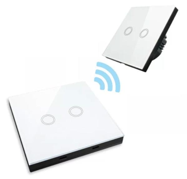 Intrerupator dublu RF cu touch, panou de sticla si telecomanda tip panou 5