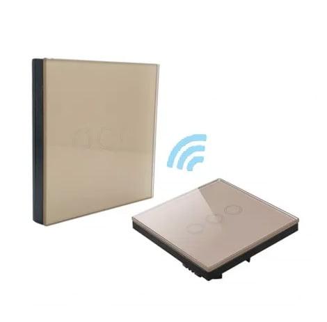 Intrerupator triplu RF cu touch, panou de sticla si telecomanda tip panou 7