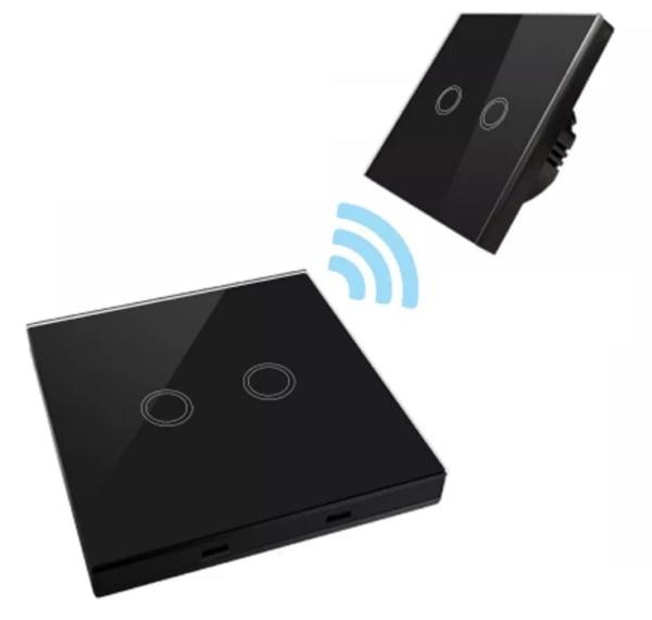 Intrerupator dublu RF cu touch, panou de sticla si telecomanda tip panou 6