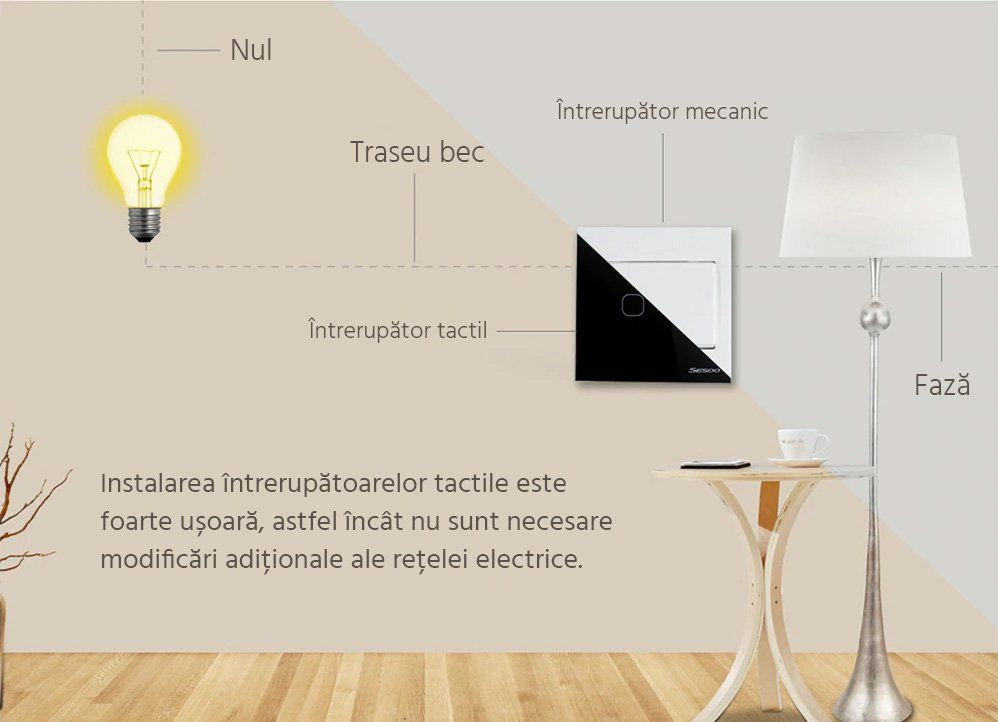 Intrerupator touch wireless RF cu panou tactil din sticla si telecomanda, Sesoo 27