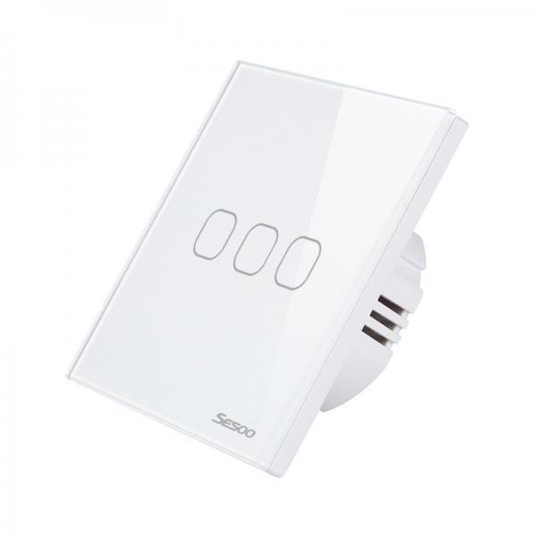Intrerupator inteligent triplu cu touch, WiFi si panou tactil din sticla, Sesoo 1