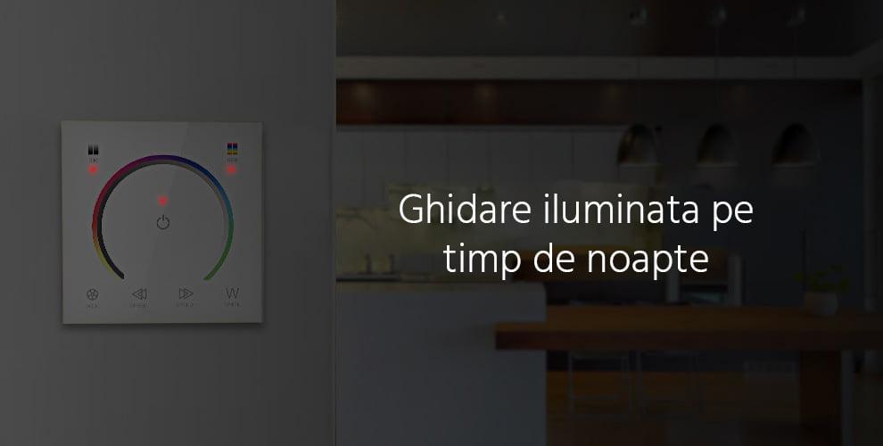 Controler Touch RGB pentru banda LED, de perete, cu panou de sticla tactil, Alb 12