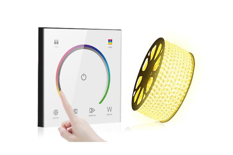 Controler Touch RGB pentru banda LED, de perete, cu panou de sticla tactil, Alb 11