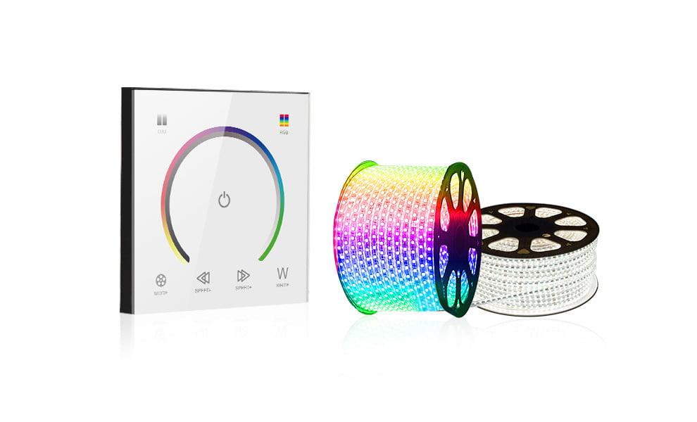 Controler Touch RGB pentru banda LED, de perete, cu panou de sticla tactil, Alb 9