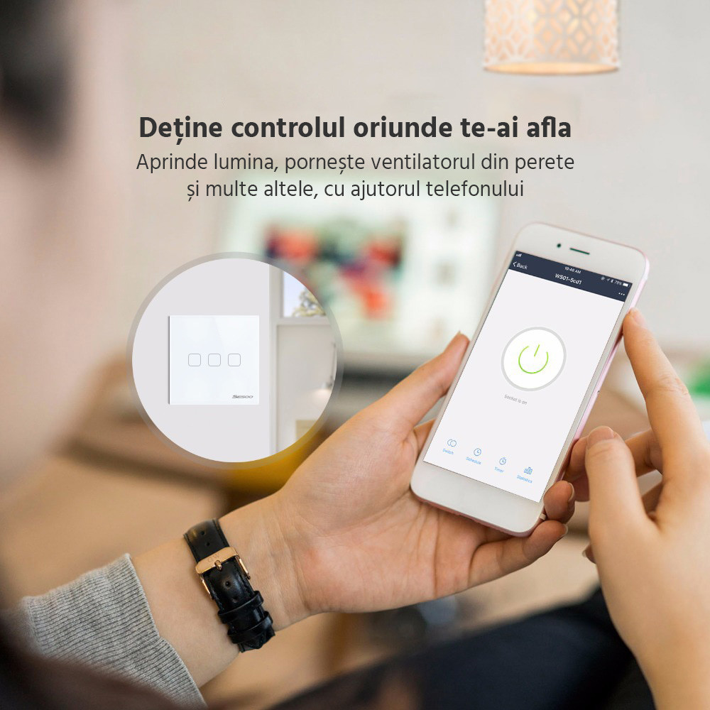 Intrerupator inteligent cu touch, WiFi si panou tactil din sticla, Sesoo 21