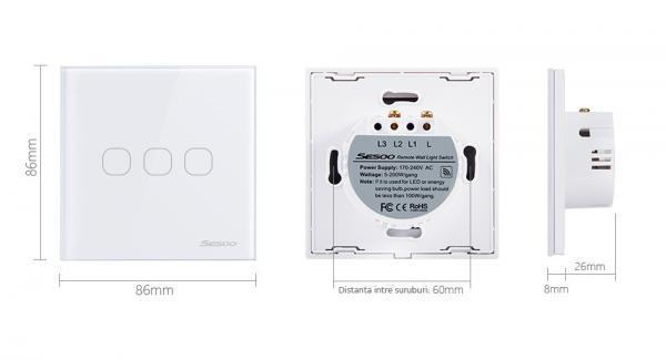 Intrerupator touch triplu RF cu panou tactil din sticla si telecomanda, Sesoo 4