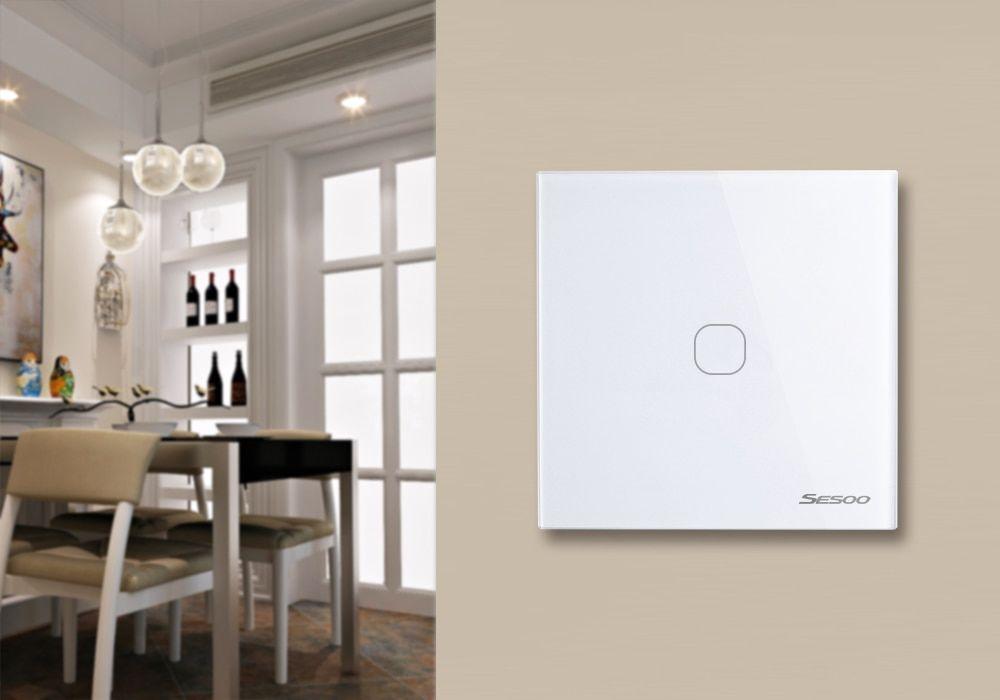 Intrerupator touch wireless RF cu panou tactil din sticla si telecomanda, Sesoo 28