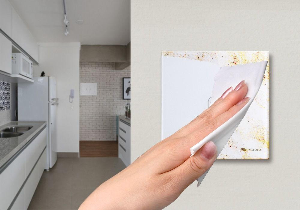 Intrerupator touch wireless RF cu panou tactil din sticla si telecomanda, Sesoo 29