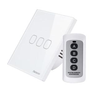 Intrerupator touch triplu RF cu panou tactil din sticla si telecomanda, Sesoo 6