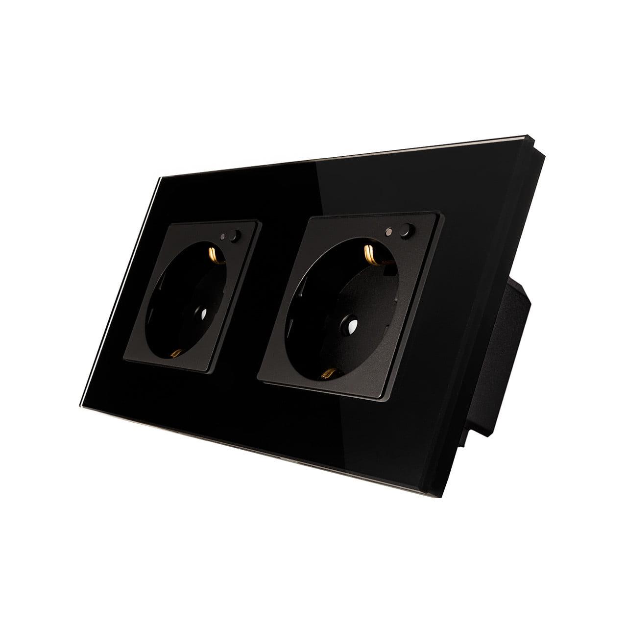 Priza Schuko dubla cu buton pornire/oprire si indicator LED