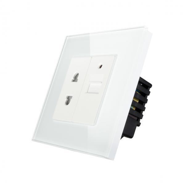 Priza Italia + priza USB, cu rama din sticla, Smart Home 7