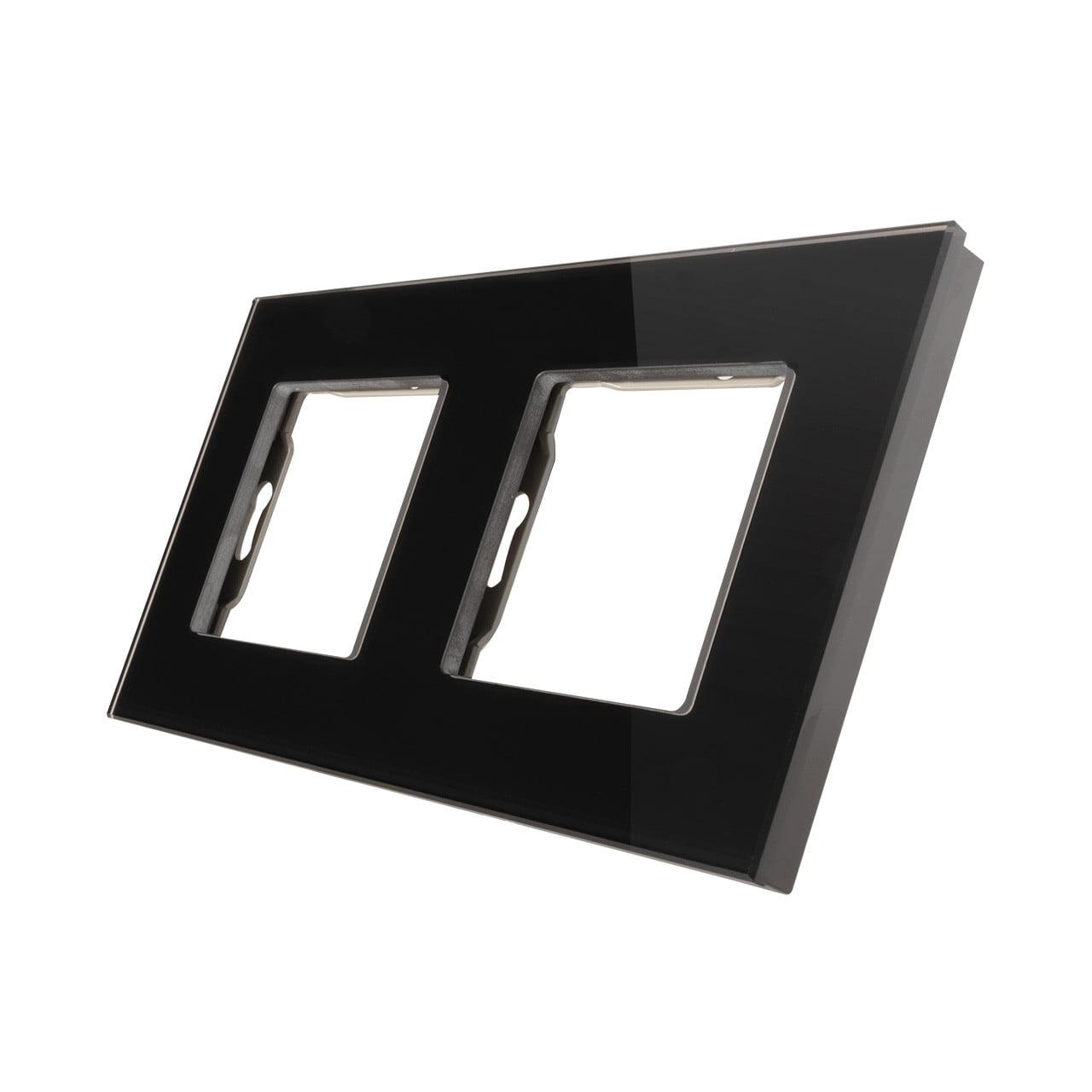Rama priza dubla din sticla, 4 module, Smart Home