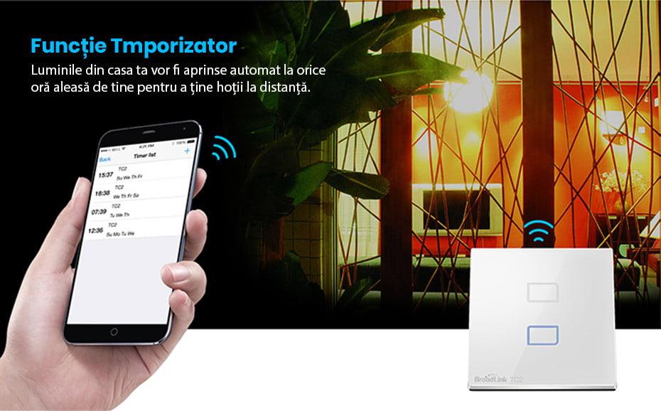 Intrerupator touch wireless dublu Broadlink TC2, cu panou tactil din sticla 11