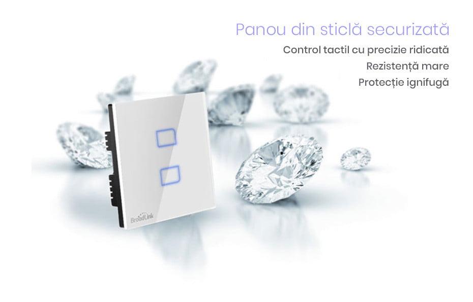 Intrerupator touch wireless dublu Broadlink TC2, cu panou tactil din sticla 12