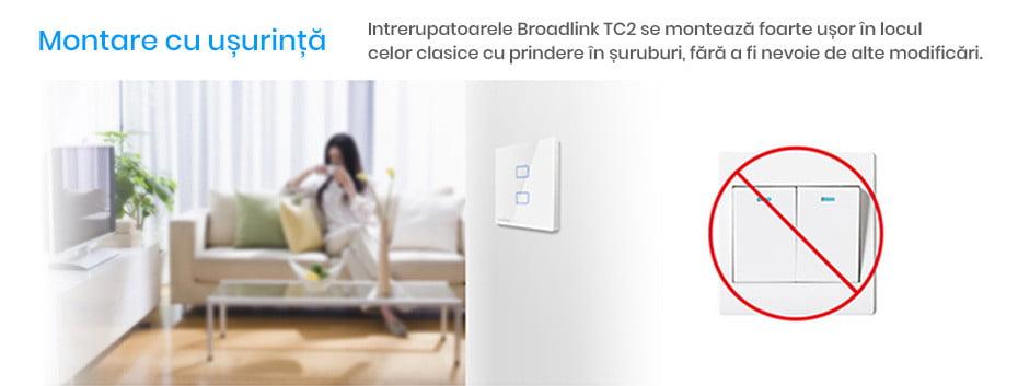 Intrerupator touch wireless dublu Broadlink TC2, cu panou tactil din sticla 13
