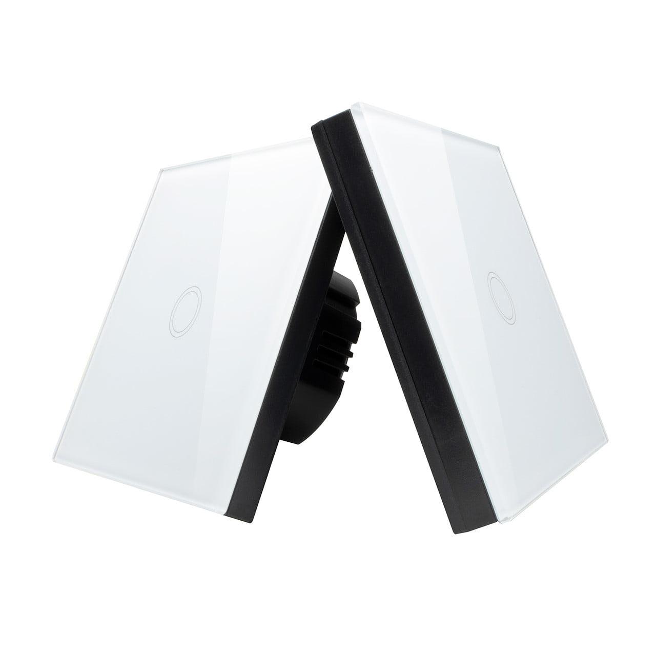 Intrerupator Wireless RF cu touch, panou tactil de sticla si telecomanda tip panou
