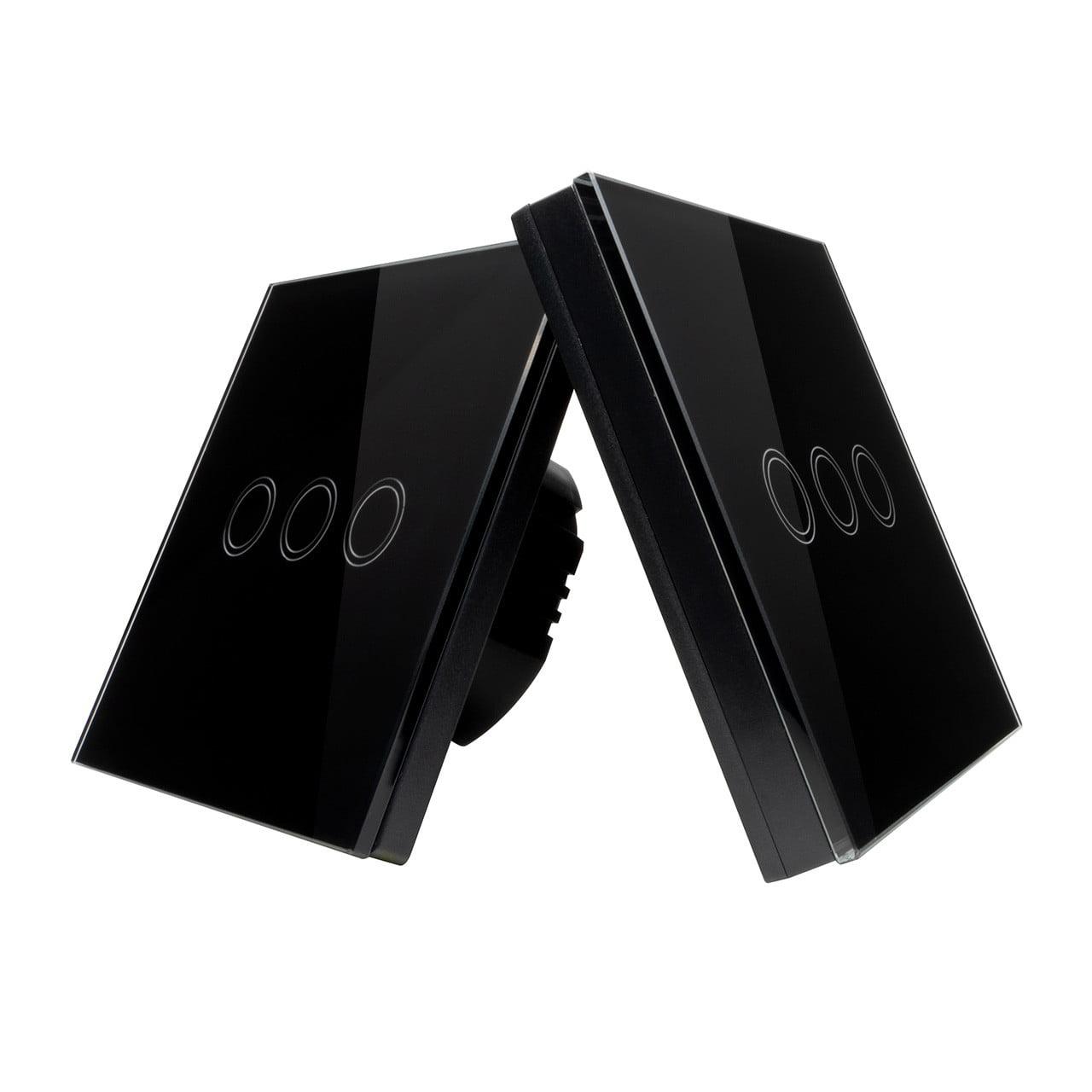 Intrerupator Wireless RF cu touch, panou tactil de sticla si telecomanda tip panou, Sesoo
