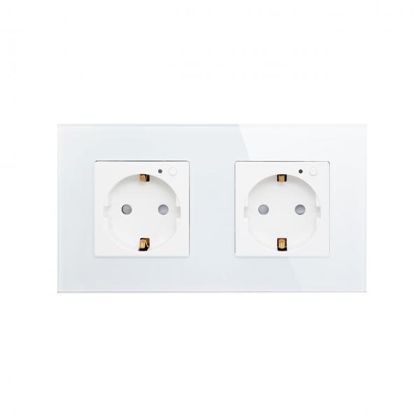 Priza Schuko dubla cu buton pornire/oprire si indicator LED 3