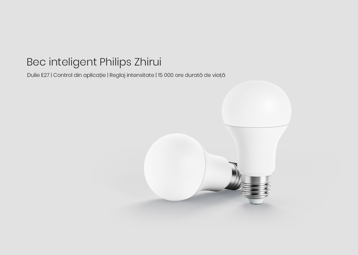 Bec inteligent LED, Philips Zhirui, E27, Wi-Fi 10