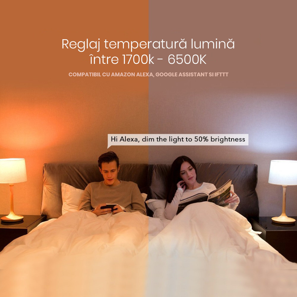 Bec inteligent LED RGB, Xiaomi Yeelight, E27, Wi-Fi 14
