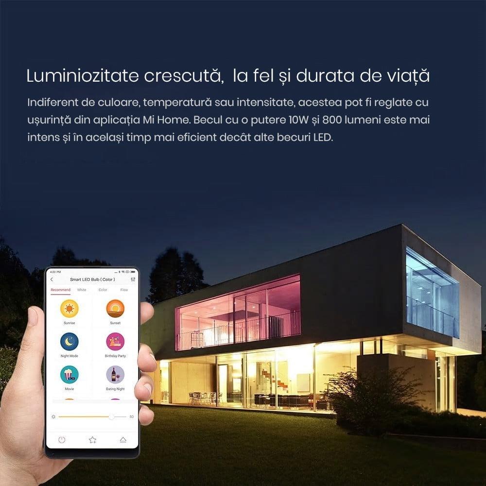 Bec inteligent LED RGB, Xiaomi Yeelight, E27, Wi-Fi 13