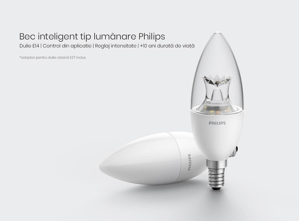 Bec inteligent LED tip lumanare, Philips Zhirui, E14, transparent 8