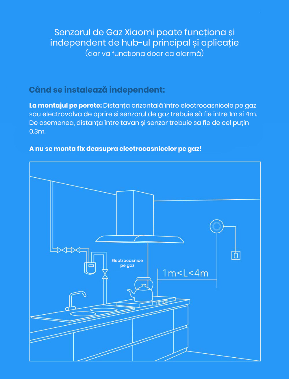 Kit alarma inteligent pentru bucatarie Xiaomi, Hub central + senzor gaz + senzor fum/flacara 17