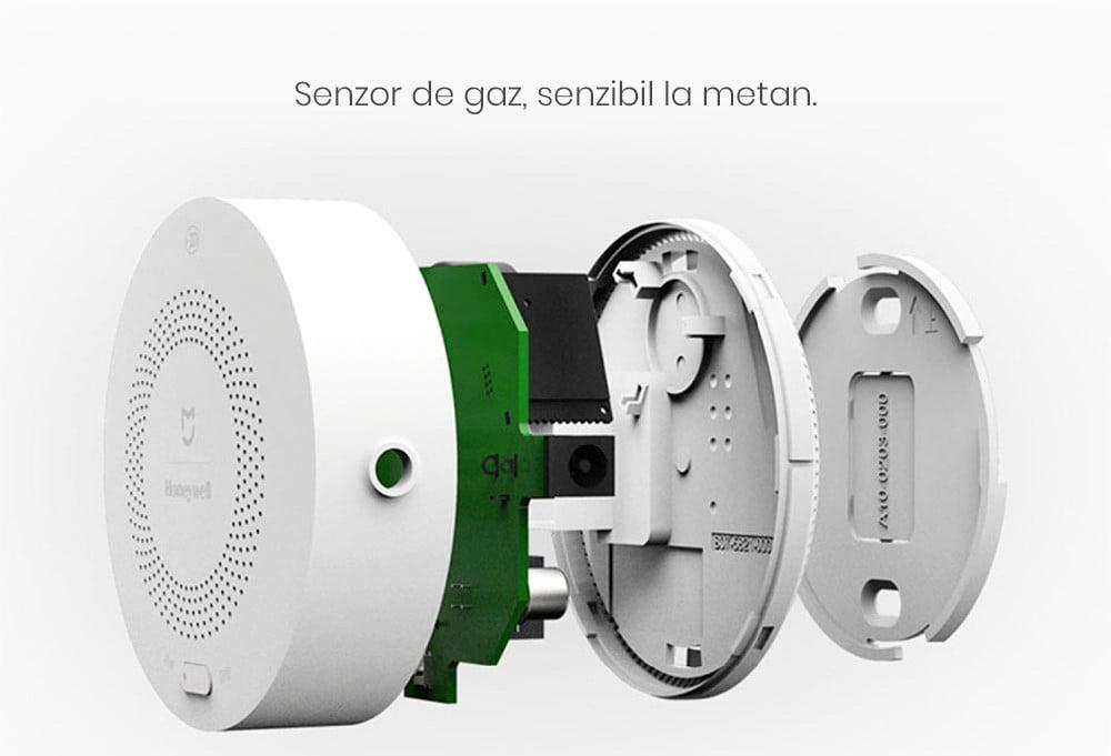 Kit alarma inteligent pentru bucatarie Xiaomi, Hub central + senzor gaz + senzor fum/flacara 16