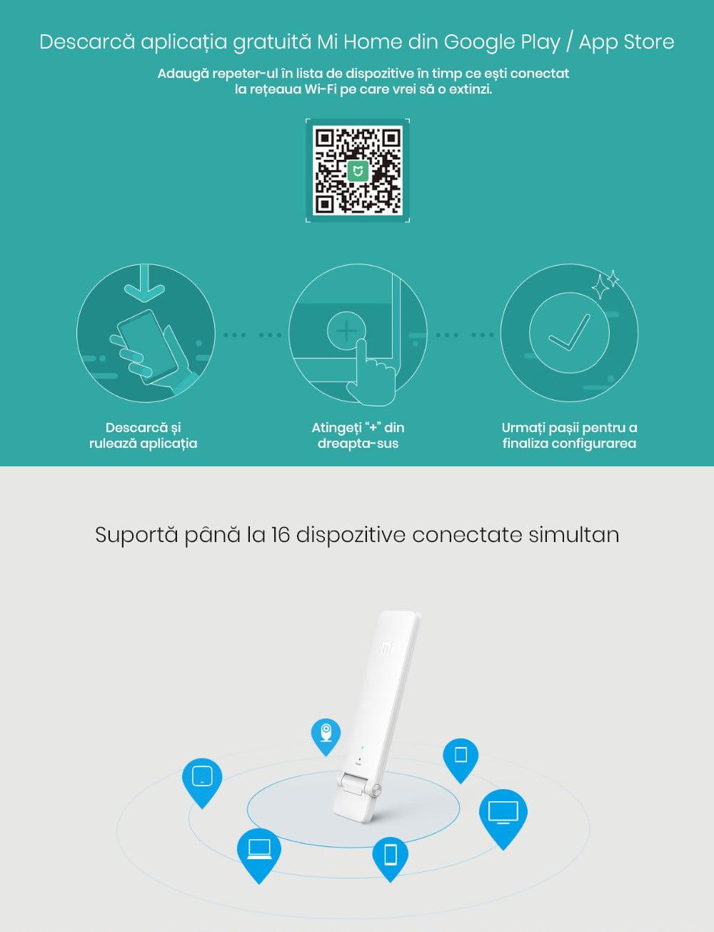 Repeater Wi-Fi Xiaomi Mi 2, 300Mbps, USB 11