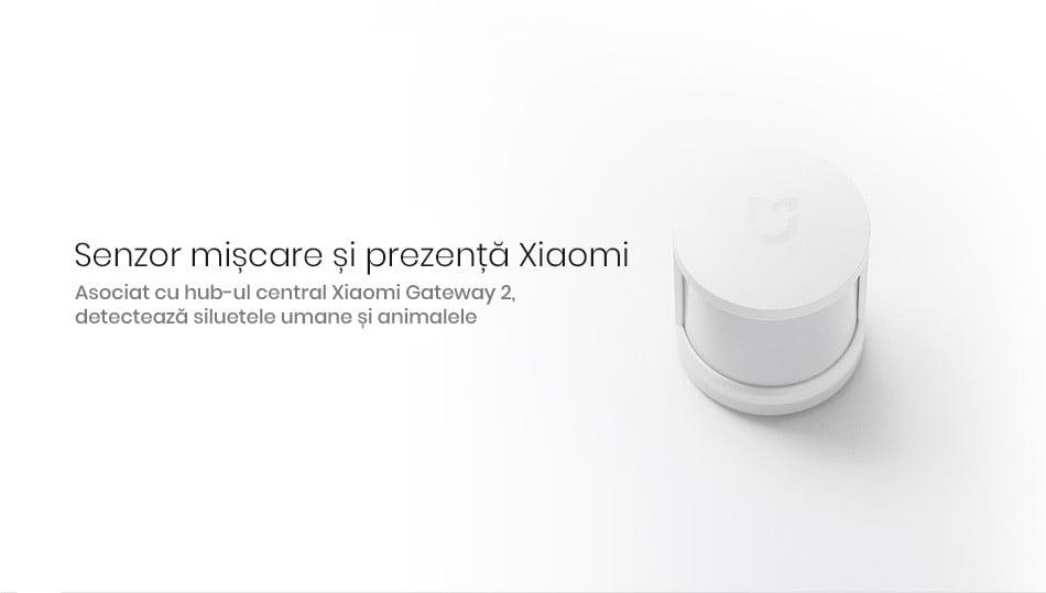 Kit alarma inteligent Xiaomi, senzor de miscare/prezenta + senzor usa/fereastra + buton wireless + hub central 19