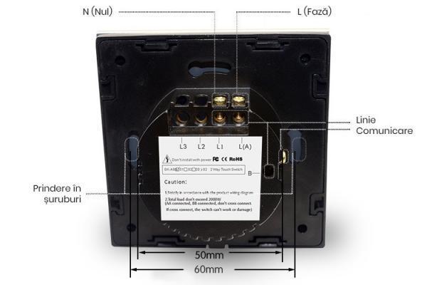 Intrerupator touch cap-scara / cap-cruce, cu panou tactil din sticla 5