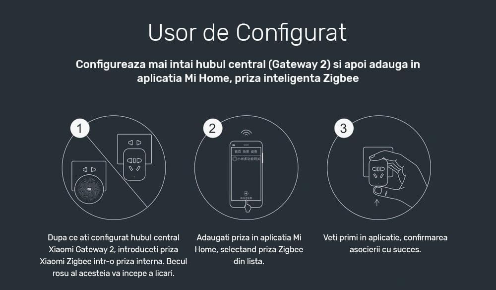 Priza inteligenta Xiaomi, Zigbee, monitorizare consum, control din aplicatie 10