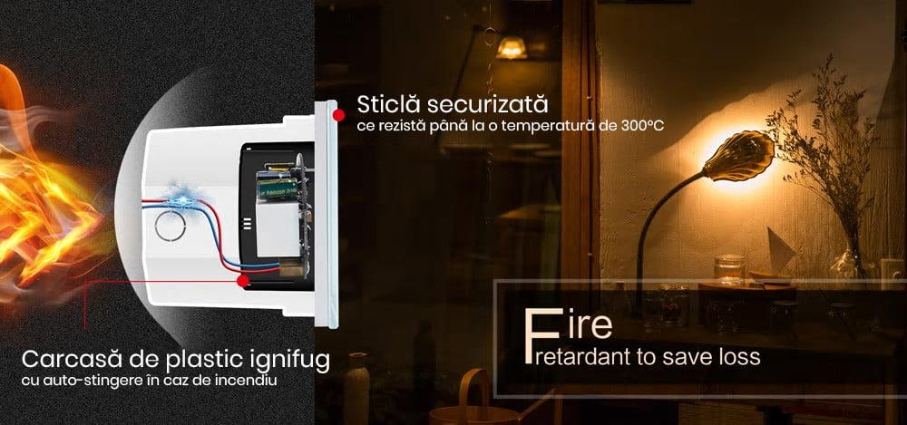 Intrerupator touch cu panou tactil din sticla Wireless RF Smart Home 21
