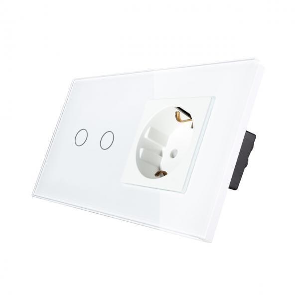 Priza Schuko + Intrerupator cu touch dublu cap scara / cap cruce, rama de sticla, Smart Home 1