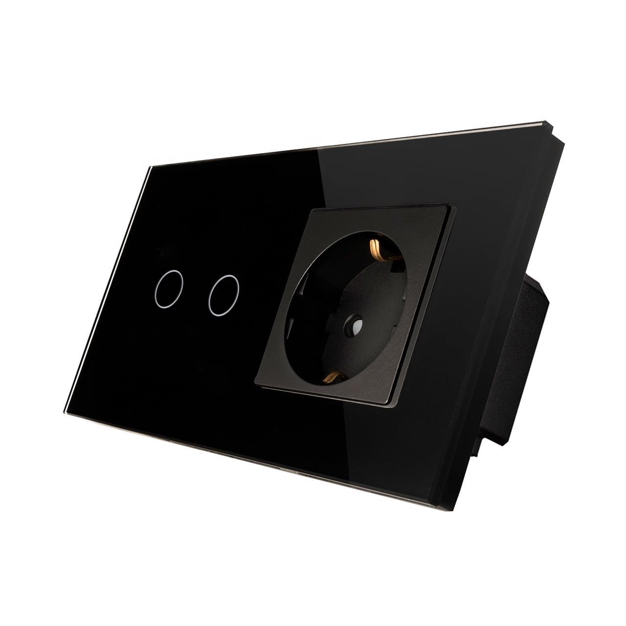 Priza Schuko + Intrerupator cu touch dublu, rama de sticla, Smart Home
