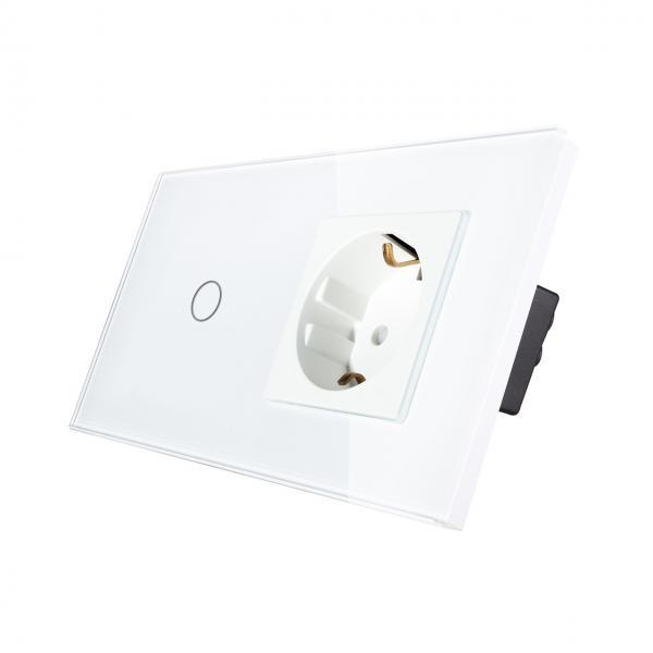 Priza Schuko + Intrerupator cu touch simplu, rama de sticla, Smart Home 5