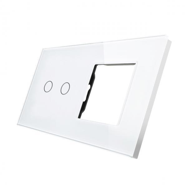 Rama sticla pentru intrerupator cu touch dublu + modul priza simplu, Smart Home 30