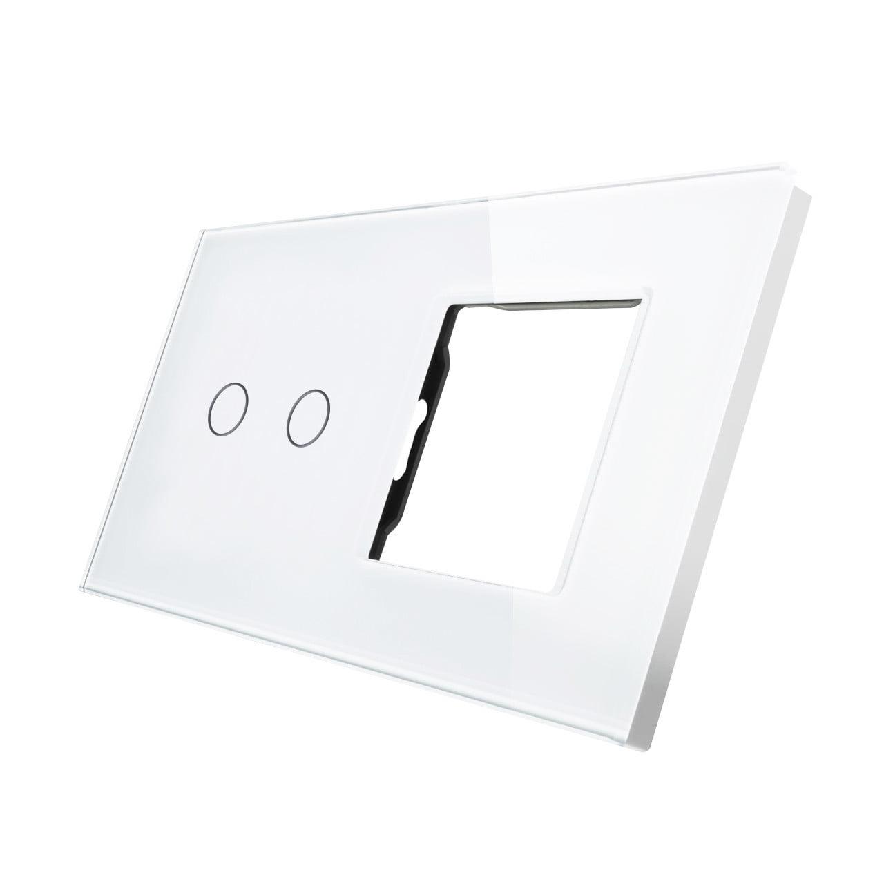 Rama sticla pentru intrerupator cu touch dublu + modul priza simplu, Smart Home