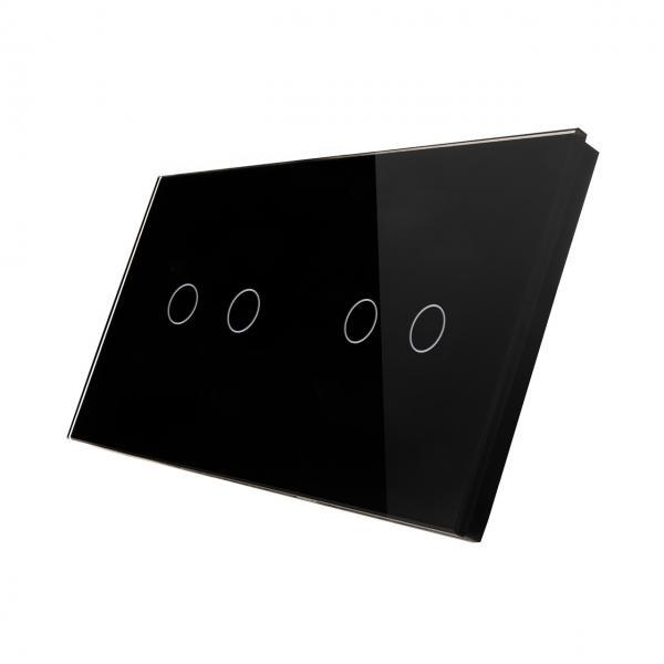 Panou intrerupator touch dublu + dublu, din sticla, Smart Home 2