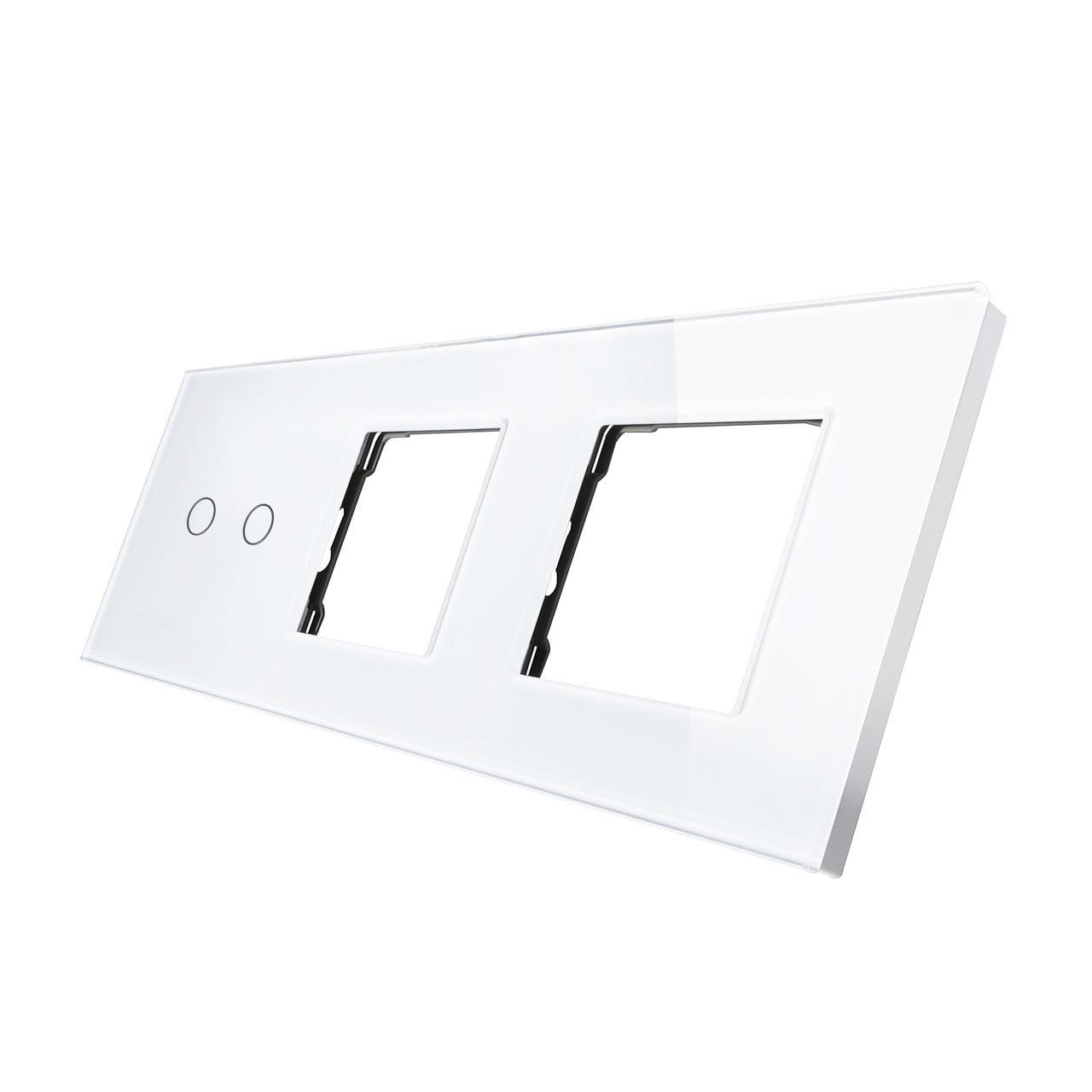 Rama sticla pentru intrerupator cu touch dublu + modul priza dublu, Smart Home